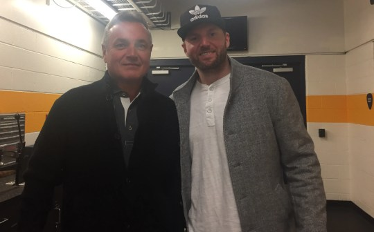 Thomas Vanek and his dad, Zdenek, at Bridgestone Arena in Nashville on Monday, February 11, 2019