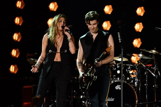 "Miley Cyrus and Shawn Mendes perform ""In My Blood"" during the 61st Annual Grammy Awards on Feb. 10, 2019, in Los Angeles."
