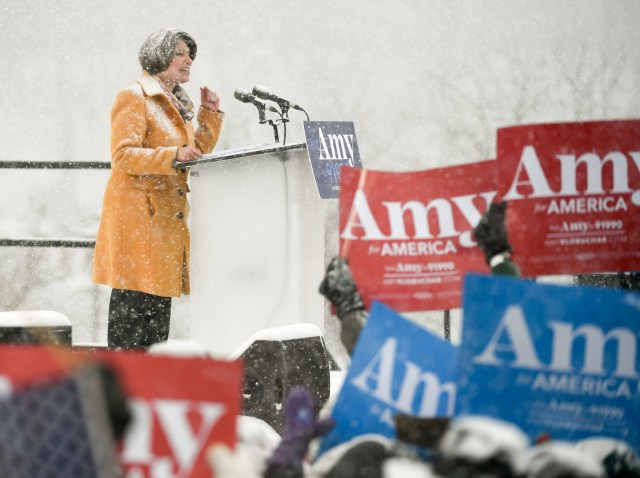 55885c3e-5bb4-414a-9ff9-18fe9176c6f8-EPA_USA_ELECTIONS_KLOBUCHAR_ANNOUNCEMENT Trump mocks Klobuchar's wintry announcement. Her answer: 'I wonder how your hair would fare in a blizzard?'