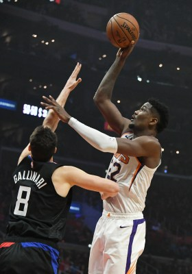 Feb 13, 2019; Los Angeles, CA, USA; Phoenix Suns center Deandre Ayton (22) shoots over LA Clippers forward Danilo Gallinari (8) in the first half at Staples Center. Mandatory Credit: Richard Mackson-USA TODAY Sports