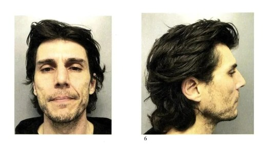 A screenshot of federal court papers shows photos of Derek Spilman, the owner of Good Times Gallery, on the day of his arrest in late January 2019.