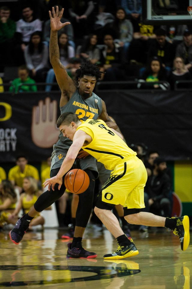 Feb 28, 2019; Eugene, OR, USA; Arizona State Sun Devils forward Romello White (23) guards Oregon Ducks guard Payton Pritchard (3) during the first half at Matthew Knight Arena.