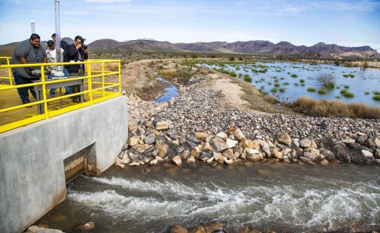 Water is ceremoniously released at the MAR 5 Interpretive Trail grand opening ceremony near Sacaton, Friday, March 1, 2019.