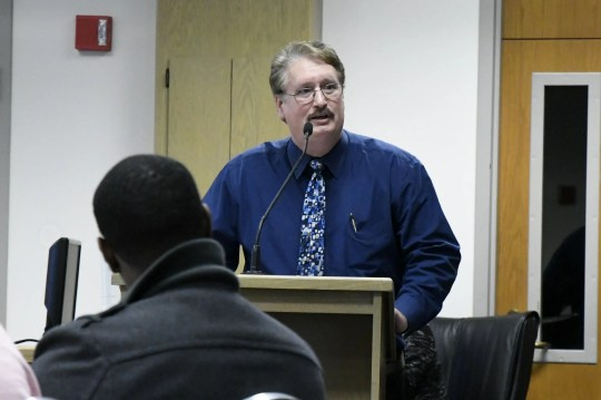 Visalia Unified Teacher's Association President Greg Price speaks to board members at the Visalia Unified special board meeting at the district office on Thursday, March 7, 2019.