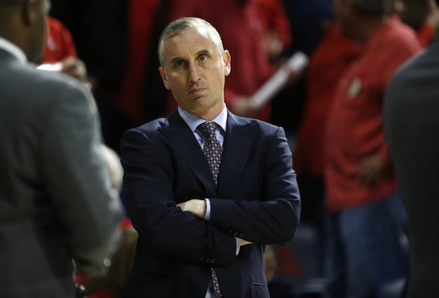 ASU's head coach Bobby Hurley waits for the game to start against Arizona before the first half at the McKale Memorial Center in Tucson, Ariz. on March 9, 2019.