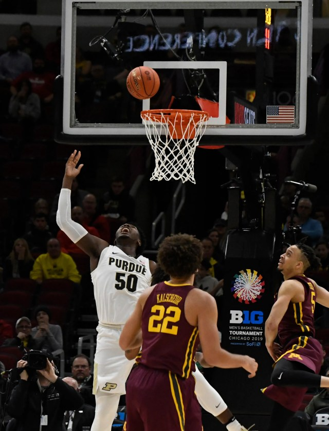 Mar 15, 2019; Chicago, IL, USA; Purdue Boilermakers forward Trevion Williams (50) scores against the Minnesota Golden Gophers during the first half in the Big Ten conference tournament at United Center. Mandatory Credit: David Banks-USA TODAY Sports