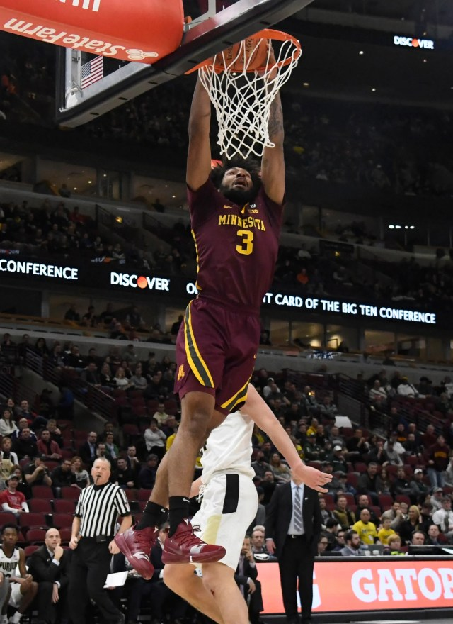 Mar 15, 2019; Chicago, IL, USA; Minnesota Golden Gophers forward Jordan Murphy (3) dunks the ball against the Purdue Boilermakers during the first half in the Big Ten conference tournament at United Center. Mandatory Credit: David Banks-USA TODAY Sports