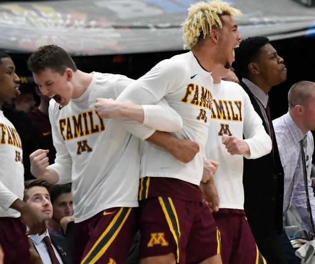 Mar 15, 2019; Chicago, IL, USA; The Minnesota Golden Gophers bench celebrate a basket against the Purdue Boilermakers during the second half in the Big Ten conference tournament at United Center. Mandatory Credit: David Banks-USA TODAY Sports