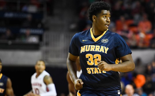 Dec 22, 2018; Auburn, AL, USA; Murray State Racers forward Darnell Cowart (32) reacts after a shot during the first half against the Auburn Tigers at Auburn Arena. Mandatory Credit: Shanna Lockwood-USA TODAY Sports