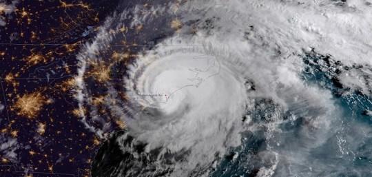 A satellite image shows Hurricane Florence lashing the Carolinas in September 2018.