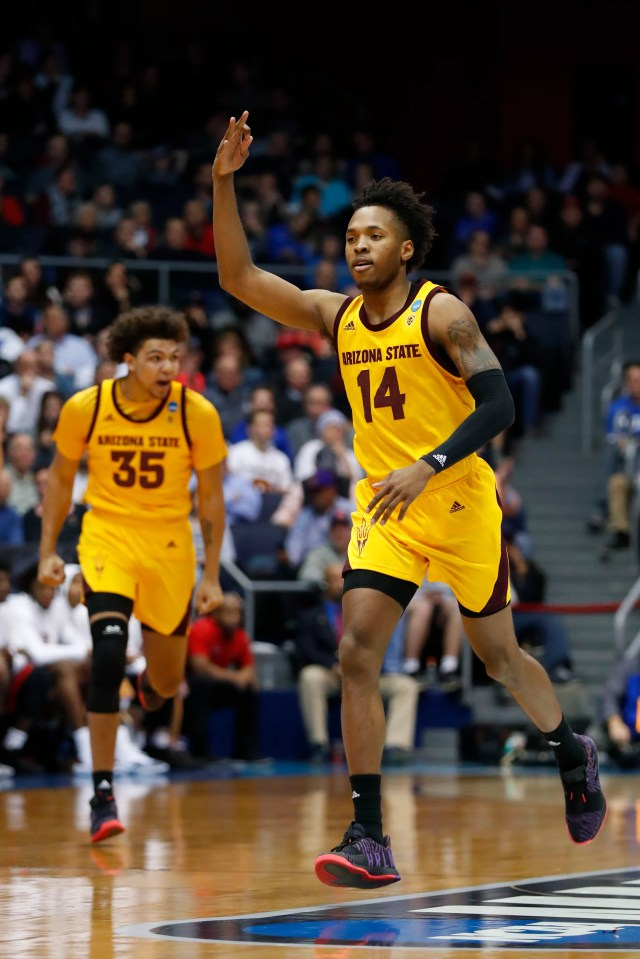 Mar 20, 2019; Dayton, OH, USA; Arizona State Sun Devils forward Kimani Lawrence (14) reacts to making a three-point shot in the first half against the St. John's Red Storm in the First Four of the 2019 NCAA Tournament at Dayton Arena. Mandatory Credit: Rick Osentoski-USA TODAY Sports