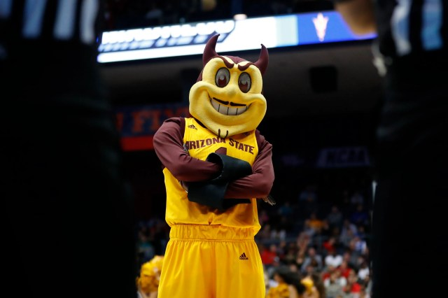 Mar 20, 2019; Dayton, OH, USA; Arizona State Sun Devils mascot Sparky the Sun Devil in the first half against the St. John's Red Storm in the First Four of the 2019 NCAA Tournament at Dayton Arena. Mandatory Credit: Rick Osentoski-USA TODAY Sports