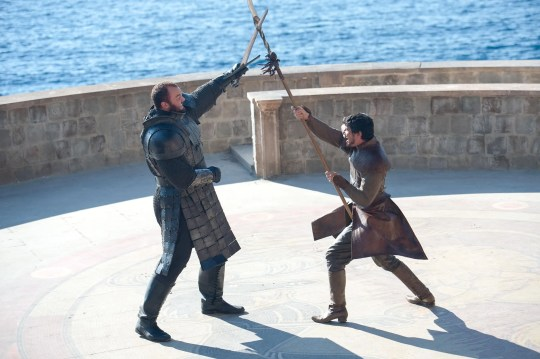 "Hafþór Júlíus Björnsson as The Mountain and Pedro Pascal as Oberyn Martell in ""The Mountain and the Viper"" episode of ""Game of Thrones."""