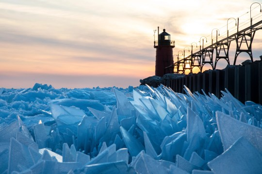 Shards of ice pile up on Lake Michigan along the South Haven Pier in South Haven, Mich.,  on March 19, 2019.