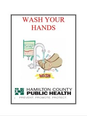 Hamilton County Public Health Poster which has been made available to district restaurants, with good hygiene in mind.