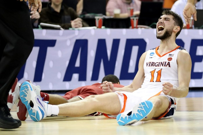 Virginia's Ty Jerome reacts in the Cavs' win over Oklahoma.