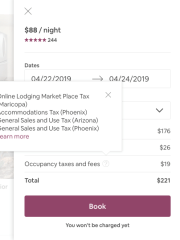A breakdown of taxes that renters pay when booking a listing in Phoenix through Airbnb.