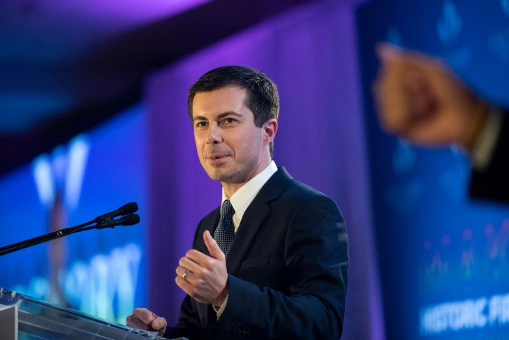 Democratic presidential candidate Pete Buttigieg speaks at the LGBTQ Victory Fund National Champagne Brunch on April 7, 2019 in Washington. Keren Carrion, USAT