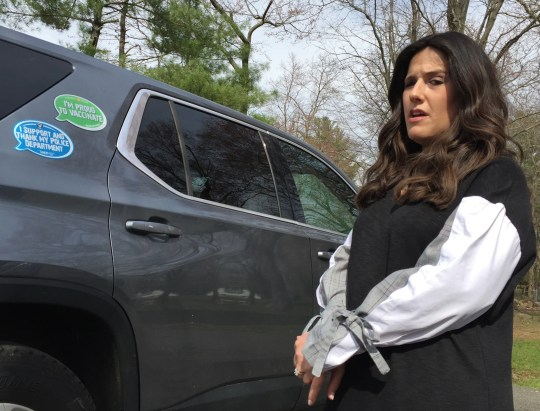 """Shoshana Bernstein has """"Proud to Vaccinate"""" magnet on her car to illustrate that not all Orthodox Jews are against vaccinations in Monsey April 12, 2019."""