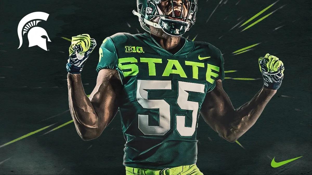46682e13b3b Michigan State Basketball Uniforms · Msu Football Poll Nike Lime Alternate