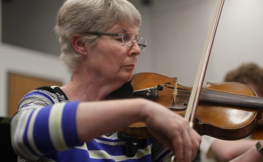 Violinist Judy Blancett plays during the Big Bend Orchestra practice on Thursday 11 April 2019.