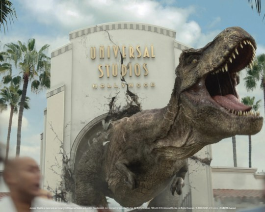 """The teaser for the new """"Jurassic World - The Ride"""" at Universal Studios Hollywood features its two dino-stars:  Tyrannosaurus rex and Mosasaurus."""