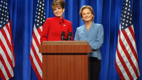 Tina Fey as Sarah Palin and Amy Poehler as Hillary Clinton in the infamous 2008