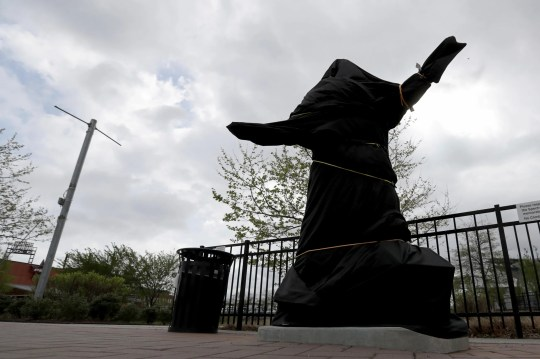 The covered Kate Smith statue sits outside Wells Fargo Center in Philadelphia.
