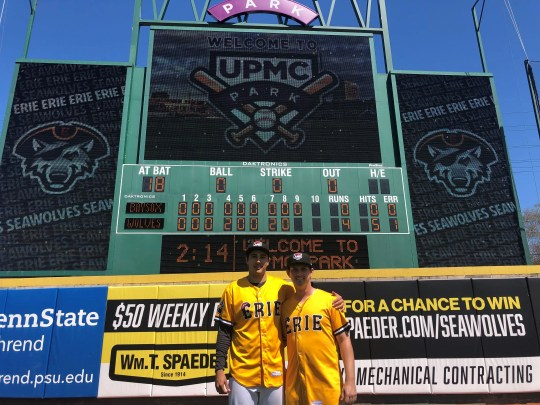 Erie SeaWolves pitchers Alex Faedo, left, and Drew Carlton stand in front of the scoreboard after throwing a combined hit at UPMC Park in a 4-0 win over Bowie April 24, 2019 in Erie, Penn.