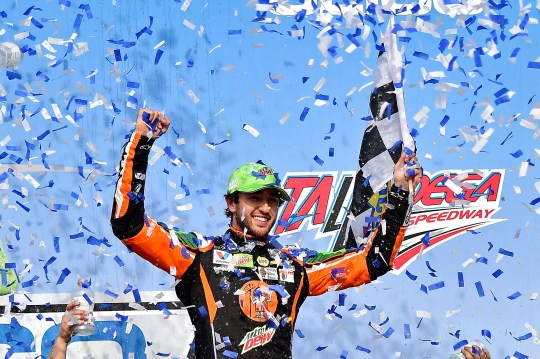 Chase Elliott celebrates after winning the GEICO 500 at Talladega Superspeedway.