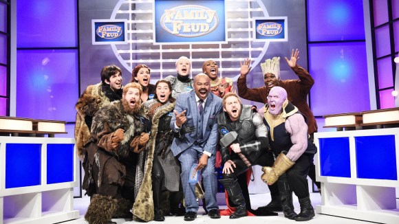"""The """"Family Feud"""" cold open on """"Saturday Night Live"""" featured a throwdown between """"Game of Thrones"""" characters and the """"Avengers: Endgame"""" crew."""