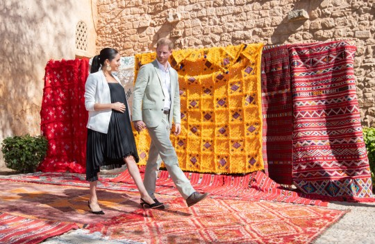 Prince Harry and Duchess Meghan visit the Andalusian Gardens in Rabat, Morocco, on Feb. 25, 2019.