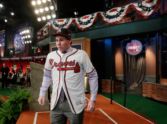 Carter Stewart, a pitcher from Eau Gallie High School in Florida, was selected No. 8 by the Braves in 2018.