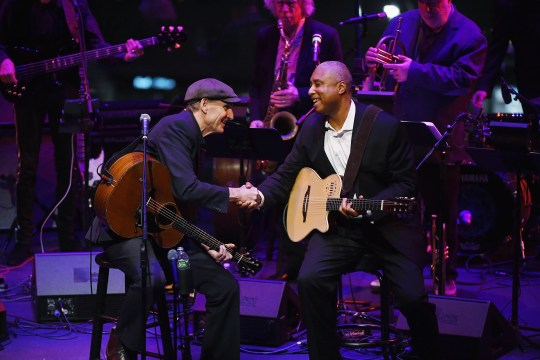 "James Taylor and Bernie Williams perform at ""The Nearness Of You Concert"" in Honor of Michael Brecker at Jazz at Lincoln Center on January 28, 2019 in New York City."