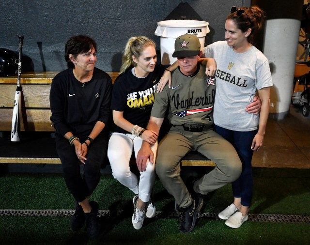 Vanderbilt head coach Tim Corbin sits with his wife, Maggie, left, and daughters following the team's win over Duke in the NCAA Division I Baseball Super Regionals at Hawkins Field Sunday, June 9, 2019, in Nashville, Tenn.