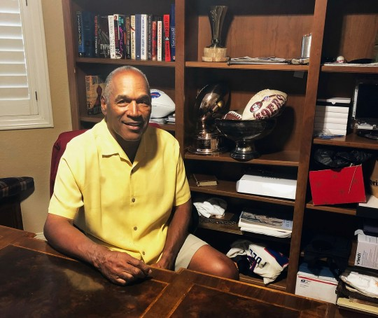 This June 6, 2019, photo shows O.J. Simpson in his Las Vegas area home. After 25 years living under the shadow of one of the nation's most notorious murder cases, Simpson says his life now is fine.