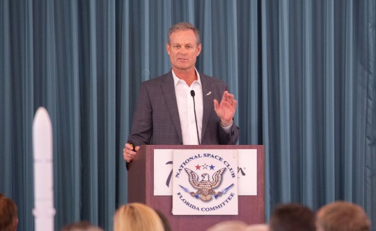 Scott Henderson, Blue Origin's vice president of test and flight operations, speaks during the National Space Club Florida Committee luncheon in Cape Canaveral on Tuesday, June 11, 2019.
