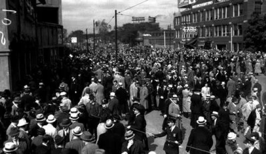 The Champions' fans remain in Briggs Stadium Brigade during the 1935 World Series