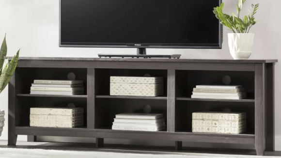 This open storage is perfect for displaying books under your TV.