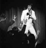 Elvis Presley performs on stage in 1969.