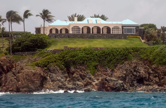 This Tuesday, July 9, 2019 photo shows a structure on Little Saint James Island, in the U. S. Virgin Islands.