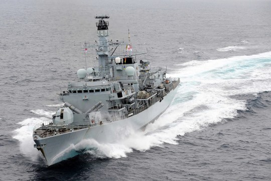 Iranian boats tried to intercept British Heritage, a British oil tanker, before being driven off by HMS Montrose, pictured, a British Navy ship.