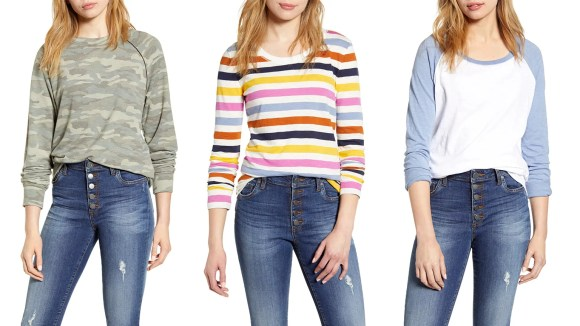 Sure, it's too hot for long sleeves now, but stock up for fall!