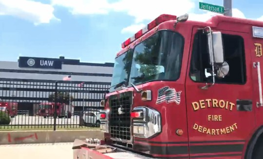 Detroit Fire Department responds to a fire reported by United workers headquarters on Jefferson Avenue in Detroit on Saturday, July 13, 2019.
