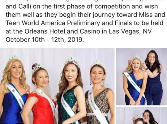 A since-deleted Facebook post announcing Kathy Zhu (center right) as Miss Michigan World America 2019
