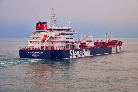 An undated distribution photograph provided by Stena Bulk shows that there is a British-registered oil tanker