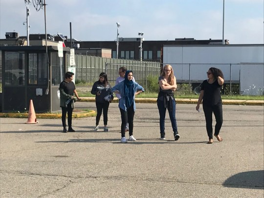 """""""Orange is the New Black"""" actors Vicci Martinez and Emily Tarver walk in the visitors parking lot of Hudson County jail after a visit with immigrant detainees."""