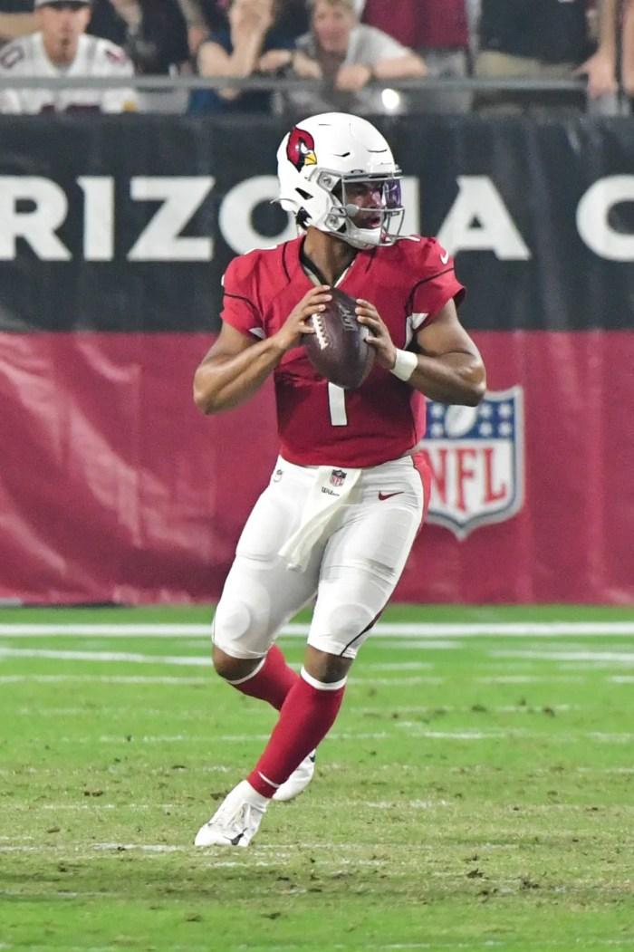 Arizona Cardinals quarterback Kyler Murray drops back to pass.