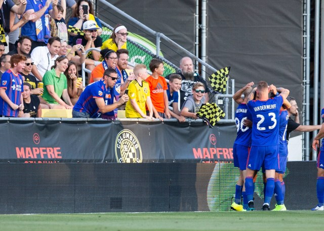 Aug 10, 2019; Columbus, OH, USA; Fans look on as FC Cincinnati celebrate their second goal of the game against Columbus Crew SC at MAPFRE Stadium.