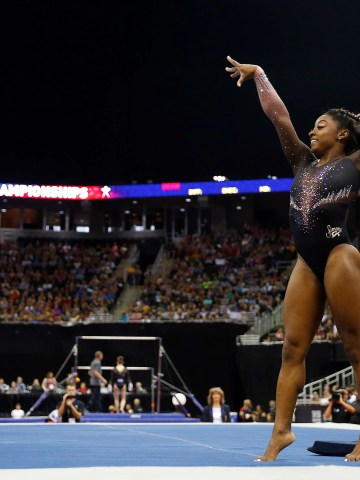 Simone Biles performs her floor exercise.